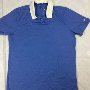 Mens L Nike Golf Polo Shirt Icon Heather Blue Stre